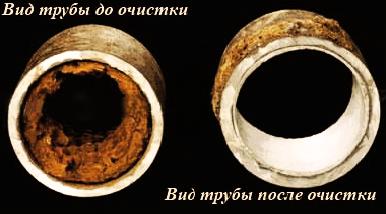Трубы до и после чистки канализации