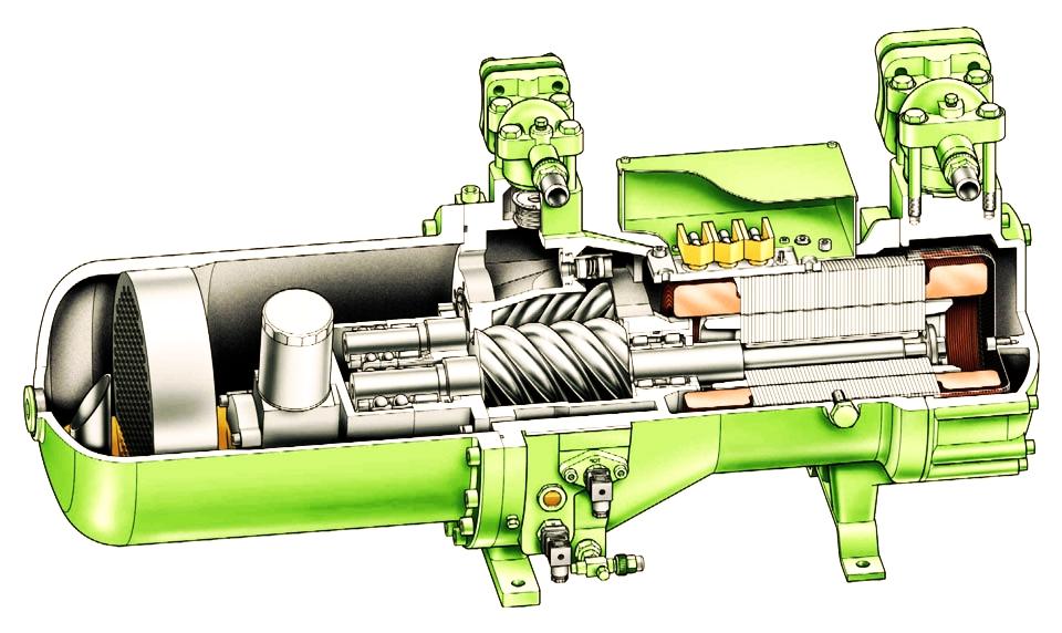 Внутреннее устройство винтового компрессора