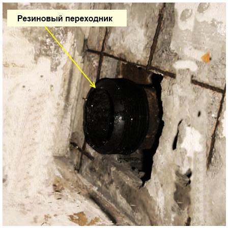 резиновый переходник поверх чугунной трубы