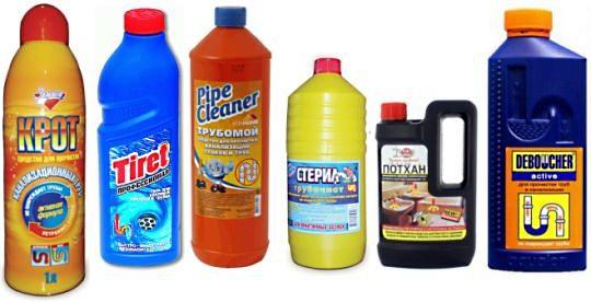 Популярные средства для прочистки канализационных труб