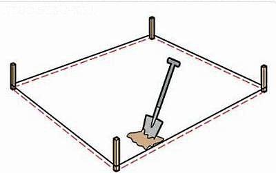 Сначала сделайте разметку для будущей ямы