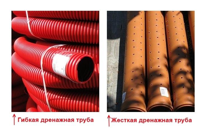Дренажные трубы различаются на: жесткие и гибкие